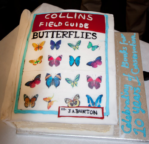 On Thursday night at the Birdfair we celebrated ten years of the NHBS and World Land Trust 'Books for Conservation' project. Thanks to WLT for a most amazing cake.