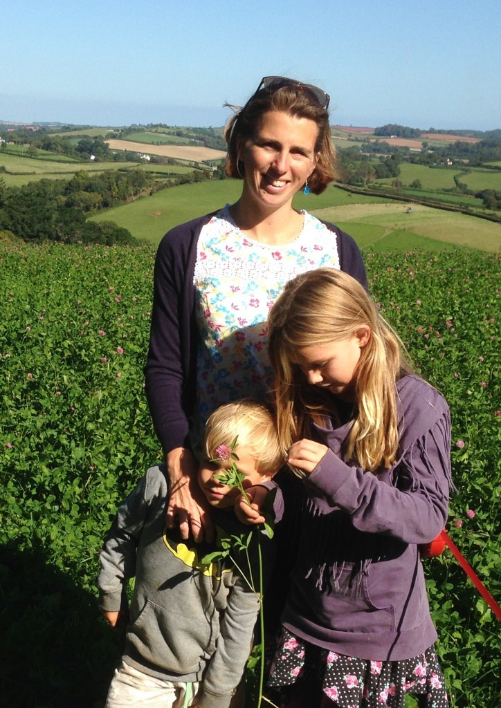 Clare Cremona and children - ready to forage