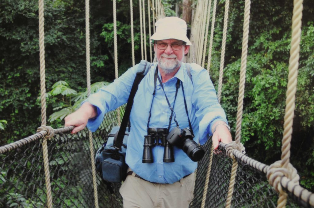 Between book writing, Michael Scott spends a lot of each year as a speaker on cruise ships - here he is exploring the Kakum National Park in Ghana.