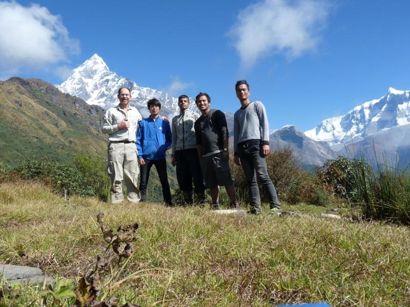 Simon, Suman, Padam, Hari and Sujan with Machhupuchhare behind.