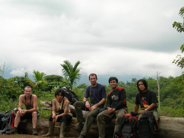 Authors James Eaton (centre) and Nick Brickle (far left) with field staff from FFI on the trail of Sumatran Ground Cuckoo near Kerinci Seblat National Park in Sumatra